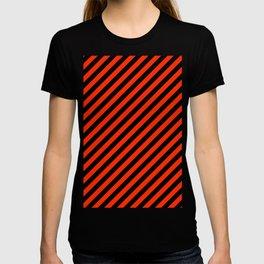 Bright Red and Black Diagonal RTL Stripes T-shirt