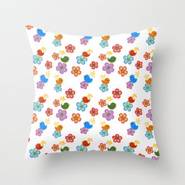 Silly Bird Floral on White Throw Pillow