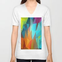 stained glass V-neck T-shirts featuring Stained Glass  by Latidra Washington