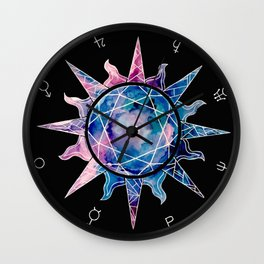 Crystal Sun | Planet Symbol | Watercolor Wall Clock