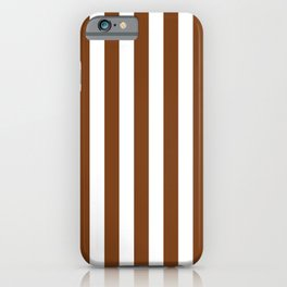 Dark Toffee Brown Beach Hut Vertical Stripe Fall Fashion iPhone Case