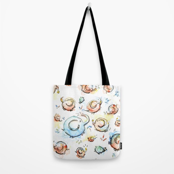 Elephants Pattern Watercolor Whimsical Animals Tote Bag