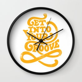 Get Into Your Groove Vintage Orange Wall Clock