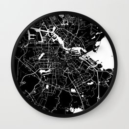 Amsterdam Black on White Street Map Wall Clock