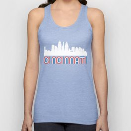 Red White Blue Cincinnati Ohio Skyline Unisex Tank Top