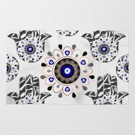 Mandala Evil Eye Hamsa Hand Rug