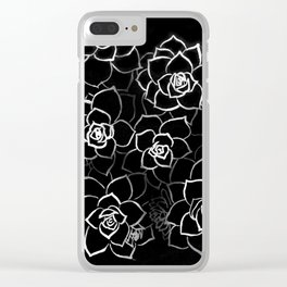 White ink. graphic with white ink and black cardboard. flowers Clear iPhone Case