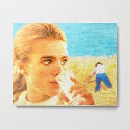 Girl in wheat field Metal Print