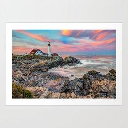 Cape Elizabeth Sunset and Portland Head Light Art Print