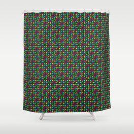Phillip Gallant Media Design - Colored Triangles on Black Shower Curtain