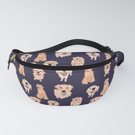Golden Retrievers on Navy Fanny Pack