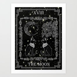 "Tarot ""The Moon"" - silver- cat version Art Print"