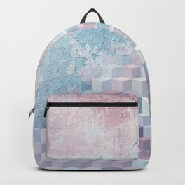 Distressed Cube Pattern - Pink and blue Backpack