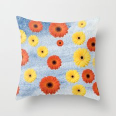 Orange & Yellow Gerberas Throw Pillow