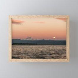 Mt. Hood Moonrise at Sunset Framed Mini Art Print