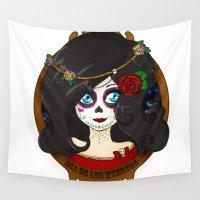 dia de los muertos Wall Tapestries featuring Dia de Los Muertos by Lilolilosa