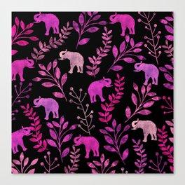 Watercolor Flowers & Elephants III Canvas Print