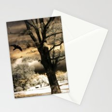 Surreal Gothic Infrared Raven Tree Landscape Nature Stationery Cards