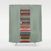 ghostbusters Shower Curtains featuring Ghostbusters stacked books by avoid peril