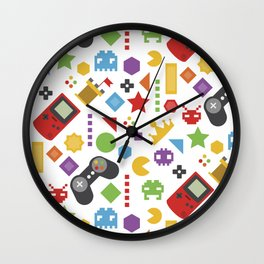 video game pattern Wall Clock