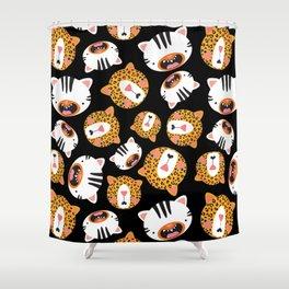 Happy Jungle Kitties (Black) Shower Curtain