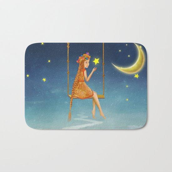 The lovely girl shakes on a swing , illustration art Bath Mat