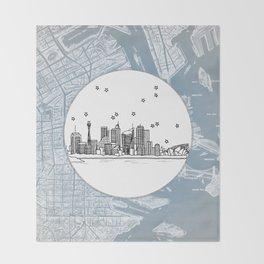 Sydney, New South Wales, Australia City Skyline Illustration Drawing Throw Blanket