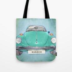 Wander Old Beetle. Green  Vintage Volkswagen Tote Bag