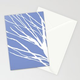 Tree Silhouette Periwinkle Blues Stationery Cards