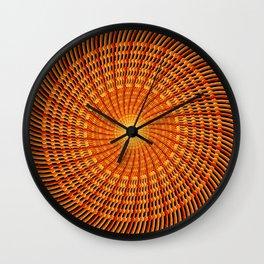 Amber Vortex Mandala Wall Clock