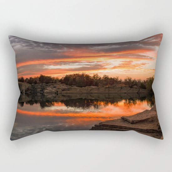 Sunset at Halibut Point Quarry Rectangular Pillow