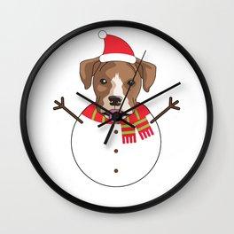 dogsnowman boxer Wall Clock