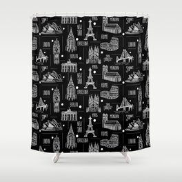 Globetrotter Black and White Travel Shower Curtain