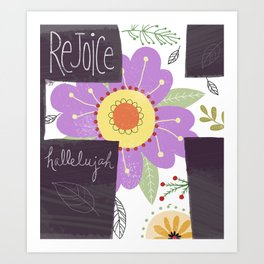 Abundance in God Rejoice Cross Art Print