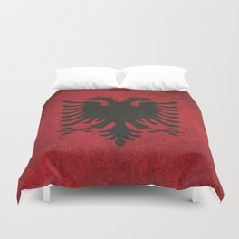 Old and Worn Distressed Vintage Flag of Albania Duvet Cover