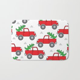 red trucks and christmas trees Bath Mat