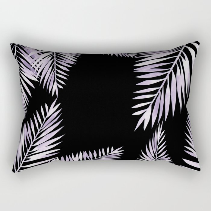 Watercolor tropical palm leaves purple Rectangular Pillow