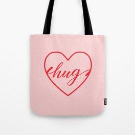 Hug Heart Calligraphy Typography Tote Bag
