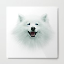 White dog, puppy, 3d, big face, kids Metal Print