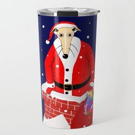 Christmas Whippet with snow Travel Mug