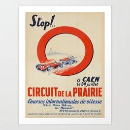 caen circuit de la prairie courses vintage Poster Art Print