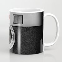 dave grohl Mugs featuring classic retro Black silver Leather vintage camera iPhone 4 4s 5 5c, ipod, ipad case by Three Second