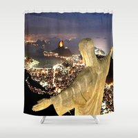 christ Shower Curtains featuring Christ the Redeemer ✝ Statue  by D.A.S.E. 3