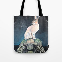 Midnight Tortoise and Hare Tote Bag