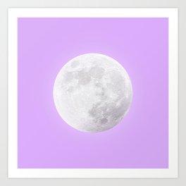 WHITE MOON + LAVENDER SKY Art Print