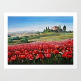 Italian Poppy Field Art Print