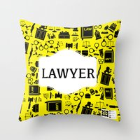 lawyer Throw Pillows featuring Purple Lawyer by Be Raza