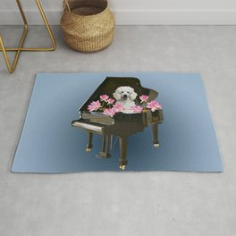 Piano with Poodle Dog and Lotus Flower Rug