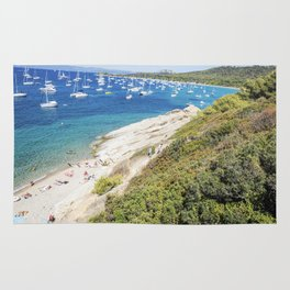 Seacoast in summer of the island of Porquerolles Rug