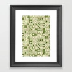 wolf geo green ivory Framed Art Print